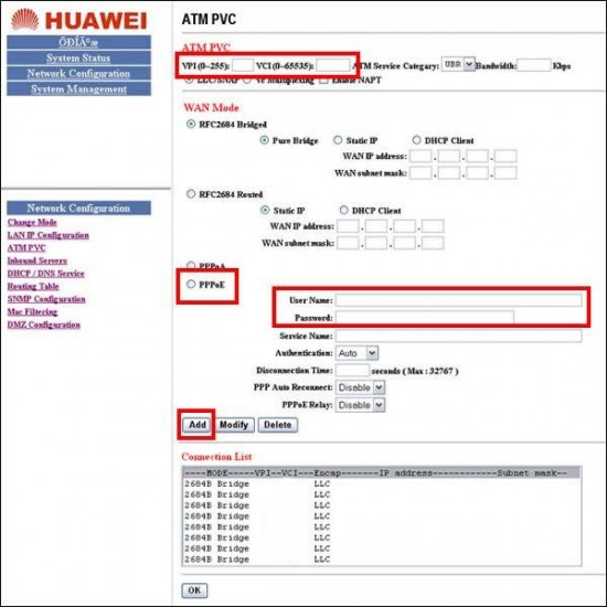 ATM PVC - Modem Huawei SmartAX MT800