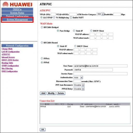 Conection List - Modem Huawei SmartAX MT800