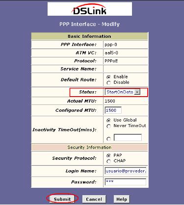 start on data DSlink 260E - www.tutorialgratis.com.br