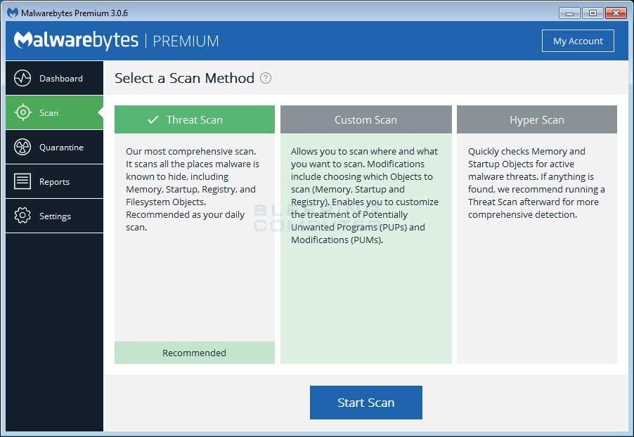Opções para limpeza Remoção de Adware